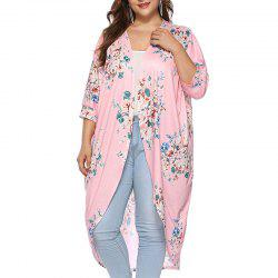 3/4 Length Sleeve Printing Casual Long Cardigan -