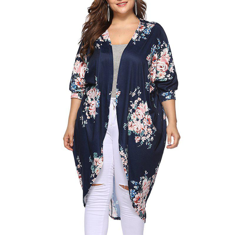 Online 3/4 Length Sleeve Printing Casual Long Cardigan