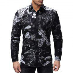 Men's Fashion Flowers 3D Print Personality Casual Slim Long Sleeve Shirt -