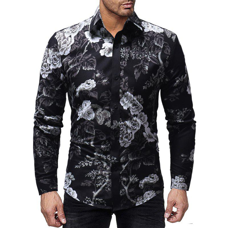 Shop Men's Fashion Flowers 3D Print Personality Casual Slim Long Sleeve Shirt