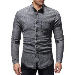 Men's Fashion Solid Color Stand Collar Casual Long-sleeved Washed Denim Shirt -