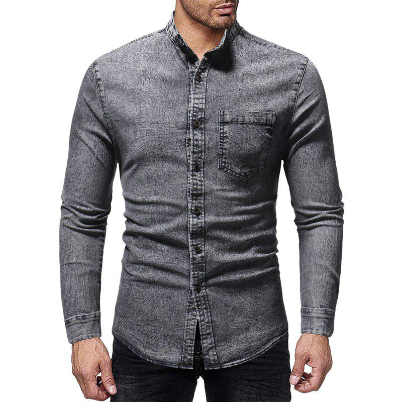 Discount Men's Fashion Solid Color Stand Collar Casual Long-sleeved Washed Denim Shirt