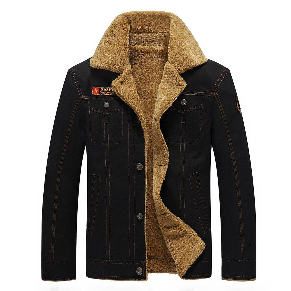 Affordable QIQICHEN 77CITY Cotton and Velour Padded Lapel Tooling Jacket