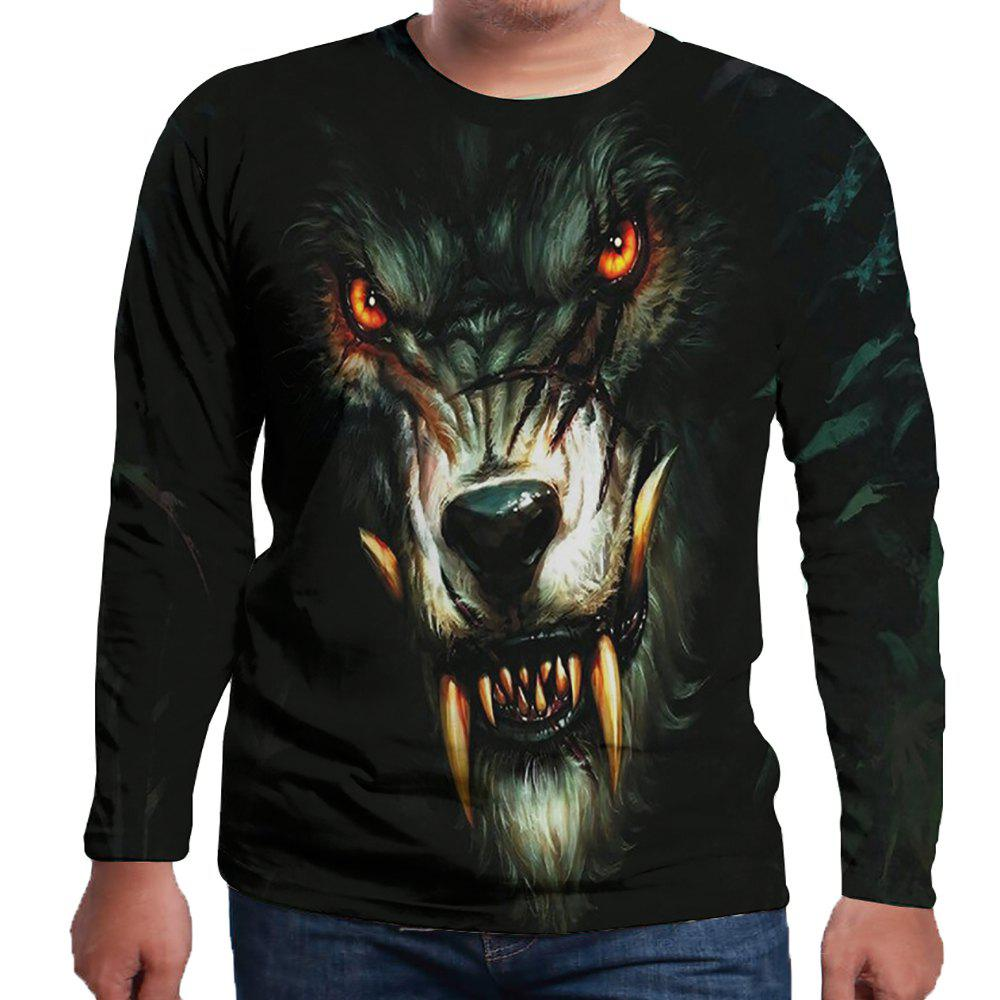 Fashion 3D Wolf Print Fashion Casual Men's Long Sleeve T-shirt
