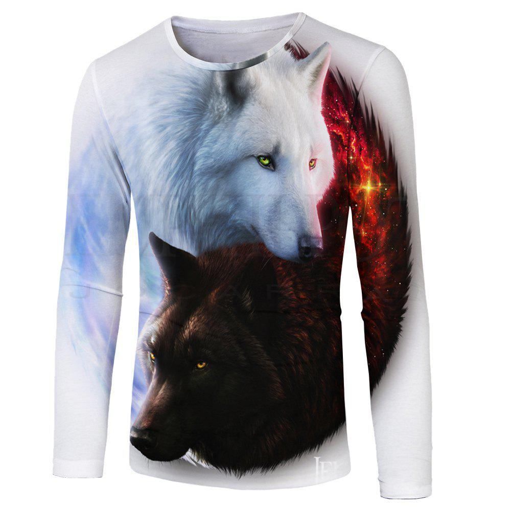 Outfit 3D Wolf Print Fashion Casual Men's Long Sleeve T-shirt