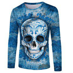Skull Print Men's Long Sleeve T-shirt -