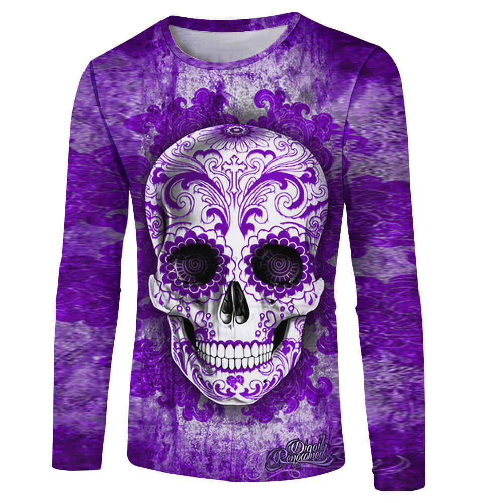 Affordable Skull Print Men's Long Sleeve T-shirt