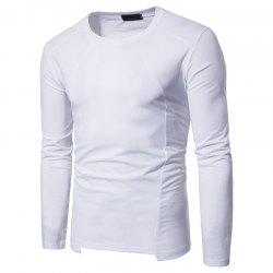 Irregular Fashion Solid Color Men's Long-sleeved T-shirt -