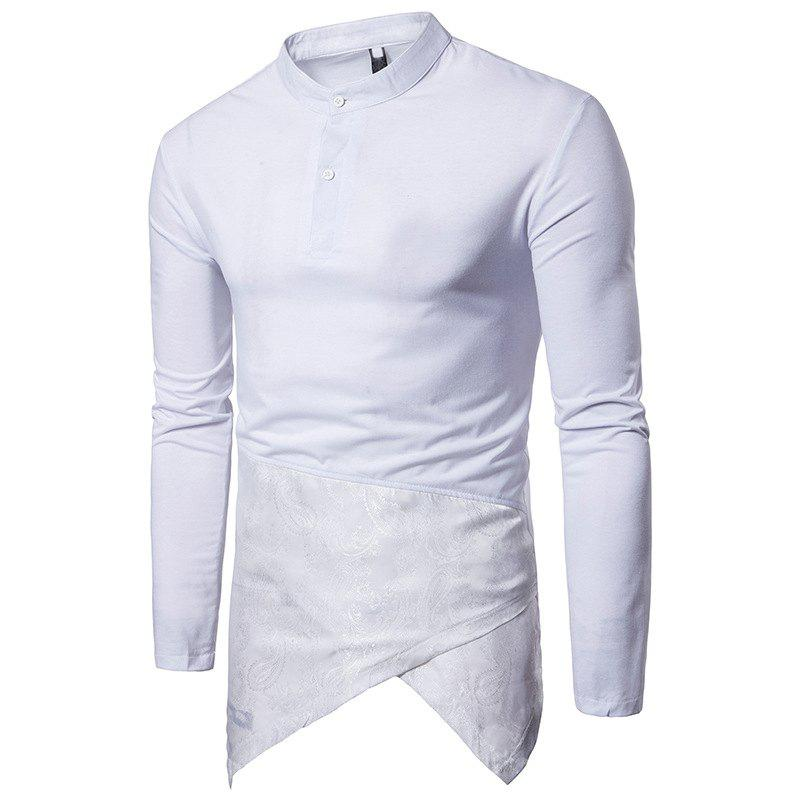 Outfits Irregular Fashion Solid Color Men's Long-sleeved T-shirt