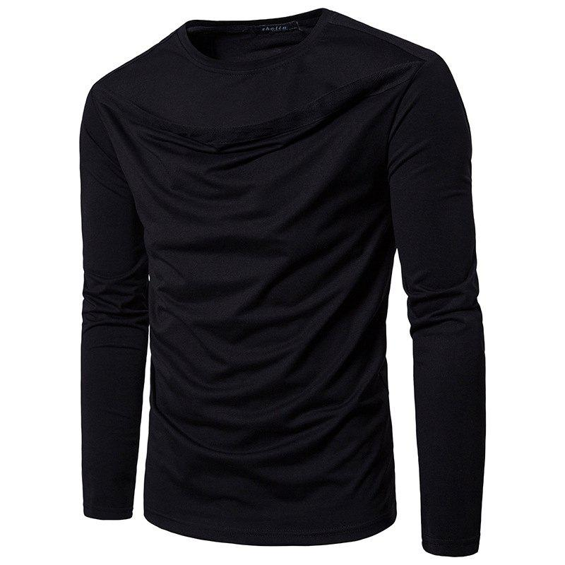 Fancy Irregular Fashion Solid Color Men's Long-sleeved T-shirt