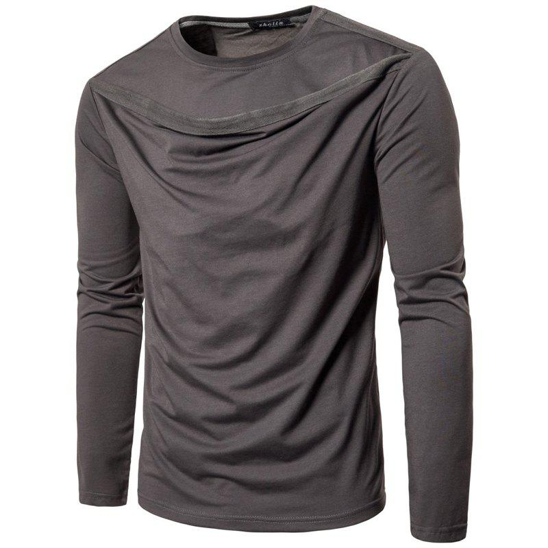 Latest Irregular Fashion Solid Color Men's Long-sleeved T-shirt