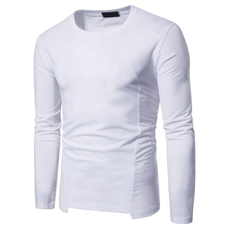 Buy Irregular Fashion Solid Color Men's Long-sleeved T-shirt