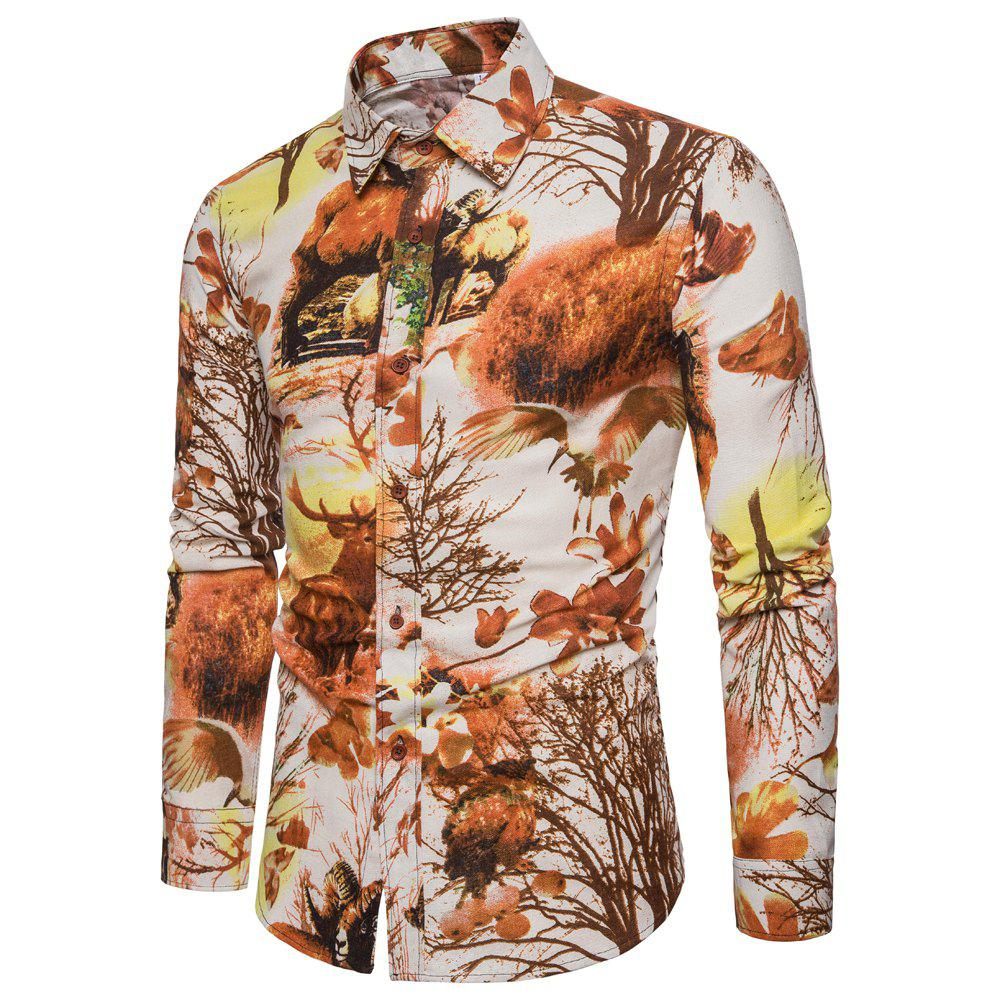 Outfit New Men Casual Long Sleeve Flower Shirt