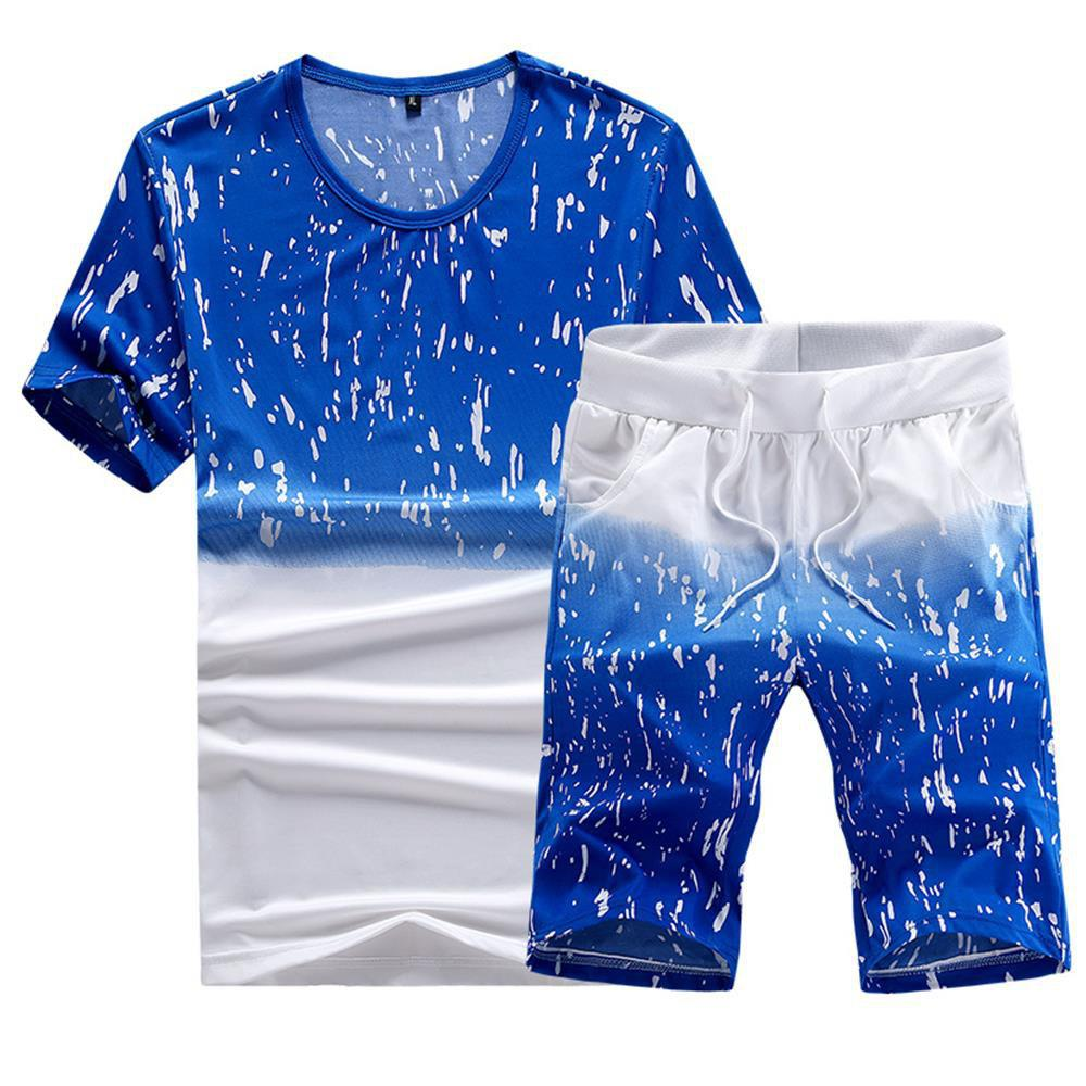 Latest Casual Summer Two-Piece Printed Men's Sports Suit