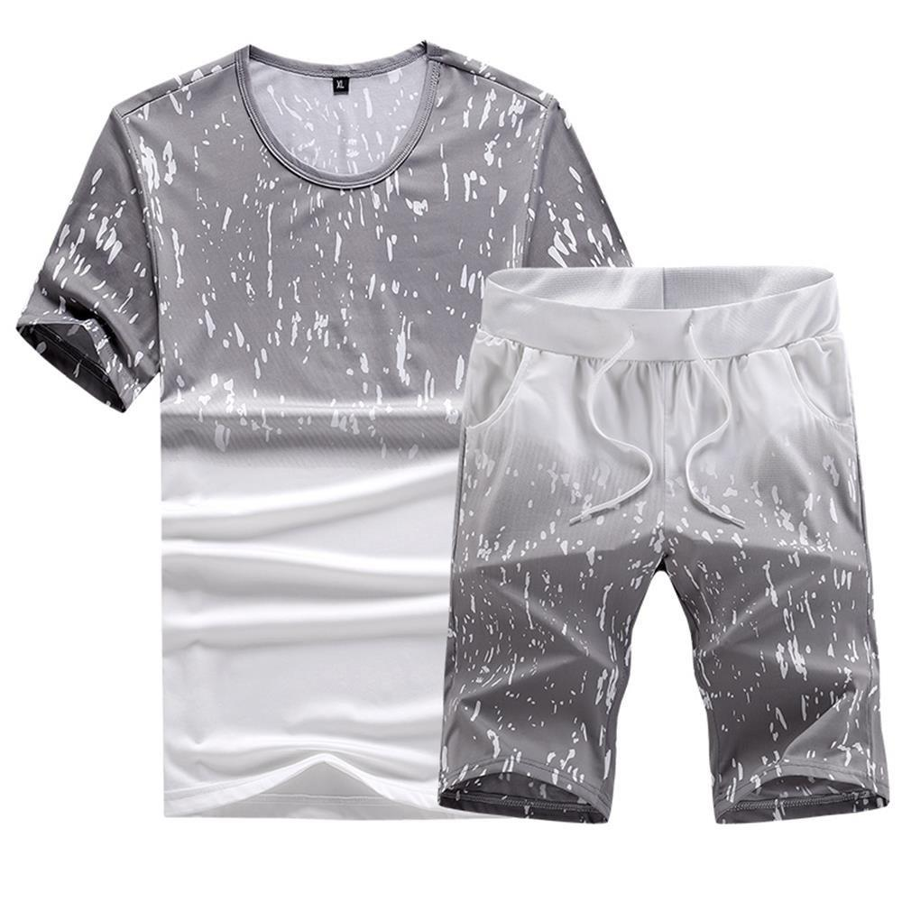 Trendy Casual Summer Two-Piece Printed Men's Sports Suit