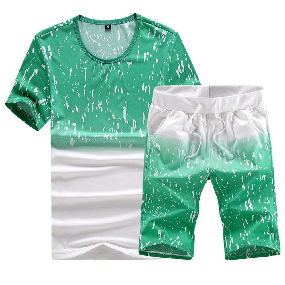 Discount Casual Summer Two-Piece Printed Men's Sports Suit