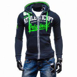 Men's Letter Print Hooded Zipper Sweater Casual Slim Male -
