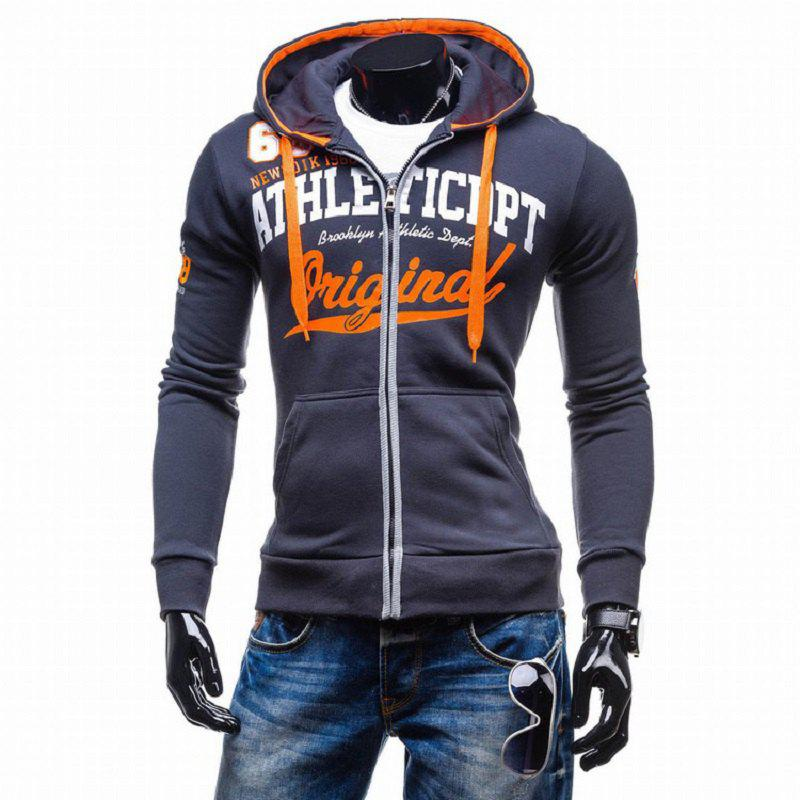 Outfits Men's Letter Print Hooded Zipper Sweater Casual Slim Male