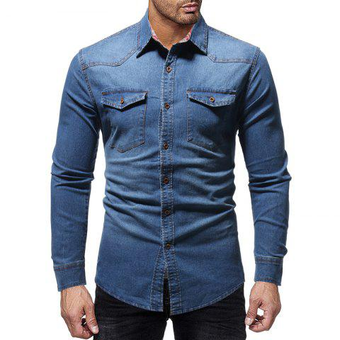 Men's Casual Plaid-lined Denim Long-sleeved Shirt Slim