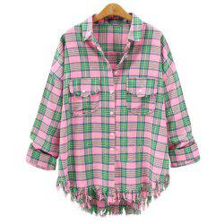 Plus Size 2018 Summer New Checked Shirt -