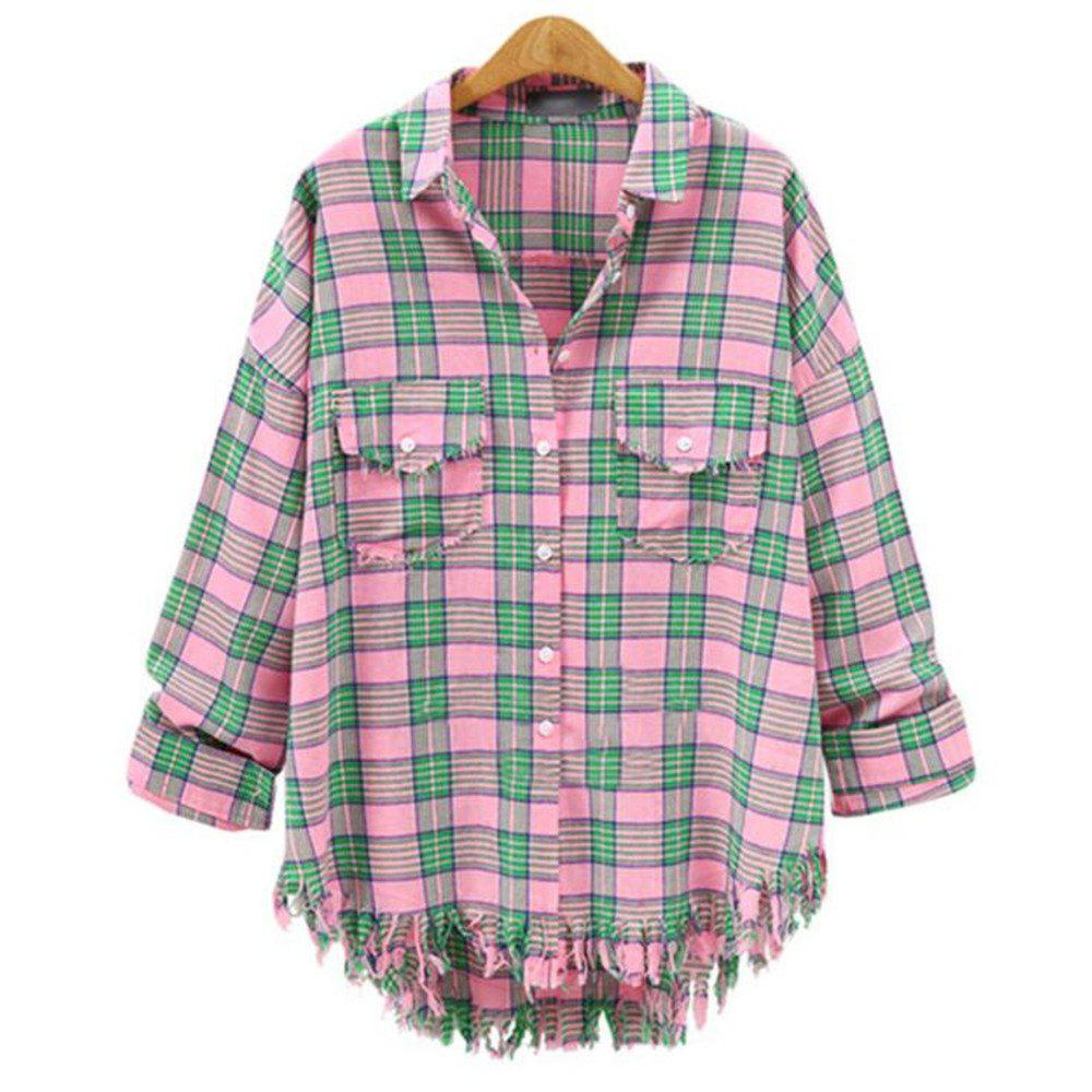 Cheap Plus Size 2018 Summer New Checked Shirt