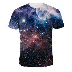 Starry Sky 3D Digital Print Casual Short Sleeve T-shirt -