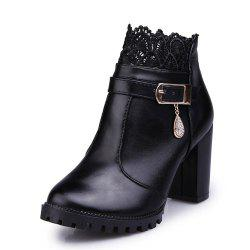 Fashion High Heel Lace Water Resistant Table Female Boots -