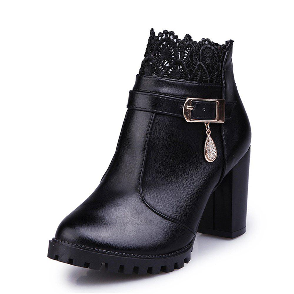 Chic Fashion High Heel Lace Water Resistant Table Female Boots