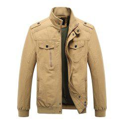 Men's Epaulette Design Stand Collar Casual Army Military Jacket -