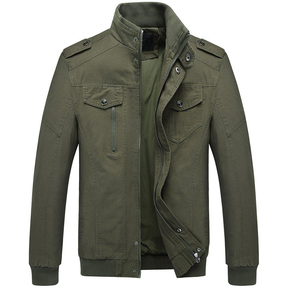 Trendy Men's Epaulette Design Stand Collar Casual Army Military Jacket