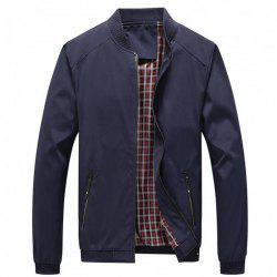 Men's Solid Color Stand Collar Casual Jacket -