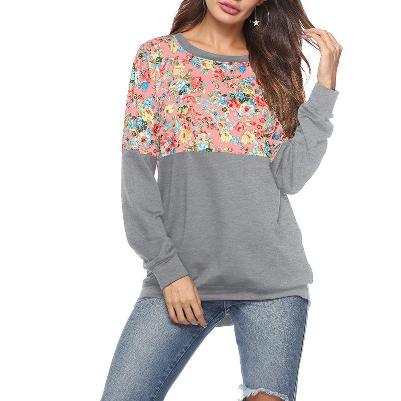 Shop Printing Round Collar Long Sleeve Loose T Shirt