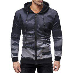 Men's Fashion Personality Gradient Design Zipper Placket Casual Hooded Sweater -