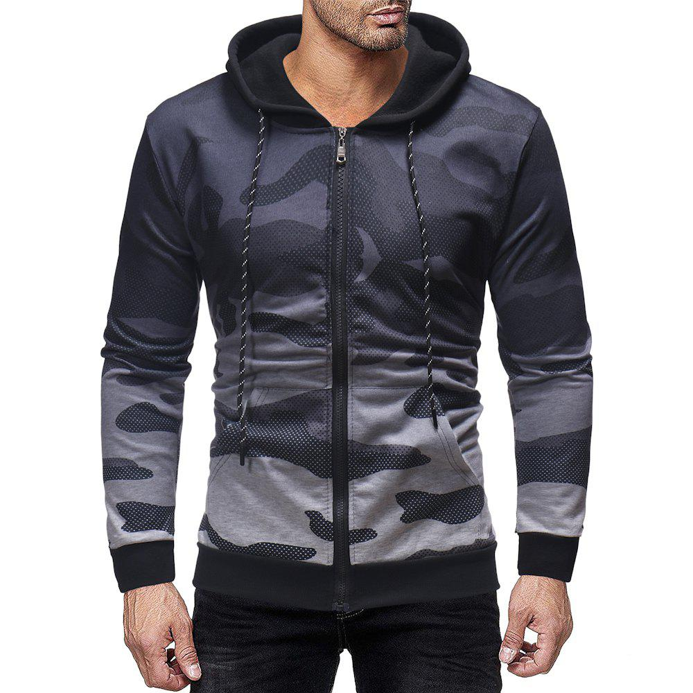 Shops Men's Fashion Personality Gradient Design Zipper Placket Casual Hooded Sweater