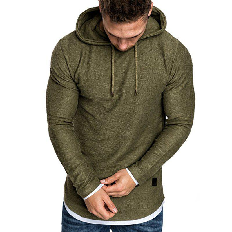 Fancy Men's Fashion Camouflage Stitching Two-piece Hooded Casual Slim Sweater