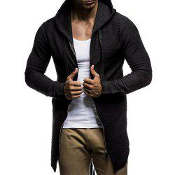 Men's Fashion Zipper Cardigan Trend Simple Section Casual Hooded Sweater Coat -