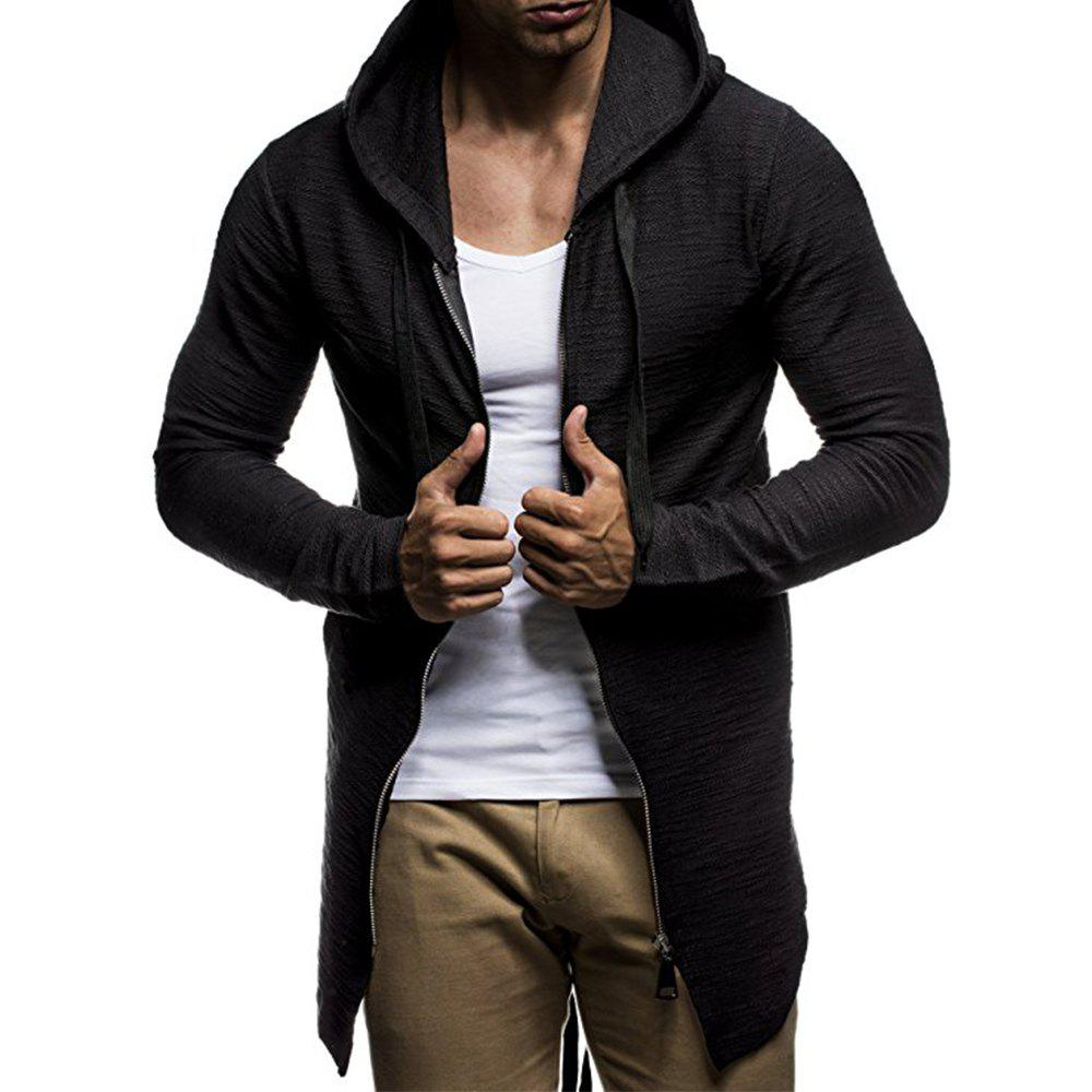 Affordable Men's Fashion Zipper Cardigan Trend Simple Section Casual Hooded Sweater Coat