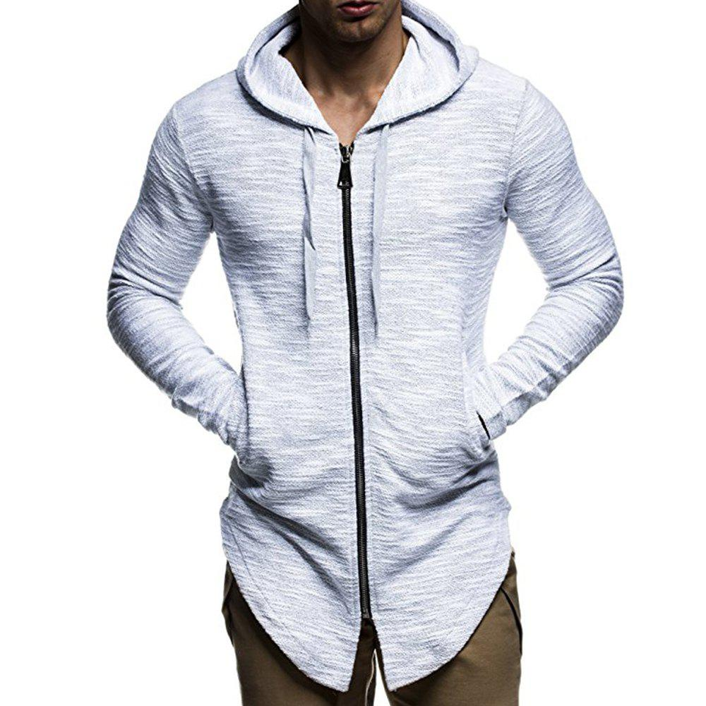 Unique Men's Fashion Zipper Cardigan Trend Simple Section Casual Hooded Sweater Coat