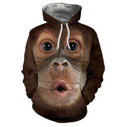 Fashion 3D Monkey Thermal Transfer Digital Print Men's Hoodie Sweater -