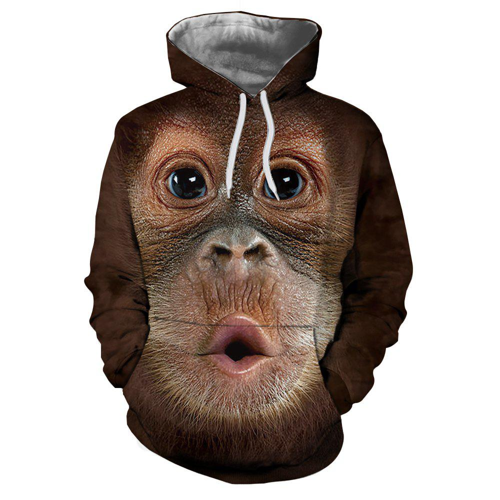 Affordable Fashion 3D Monkey Thermal Transfer Digital Print Men's Hoodie Sweater