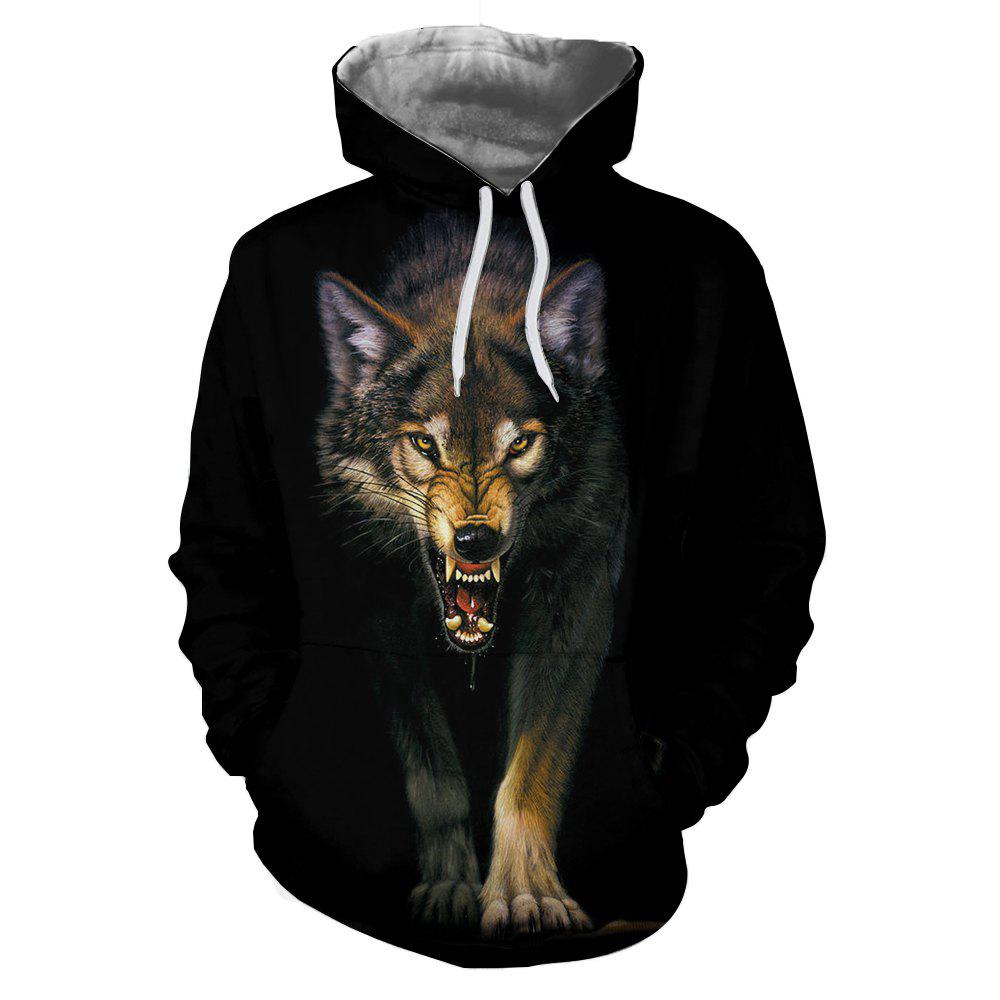 Fancy Autumn and Winter 3D Wolf Digital Print Thermal Transfer Men's Hoodie Sweater