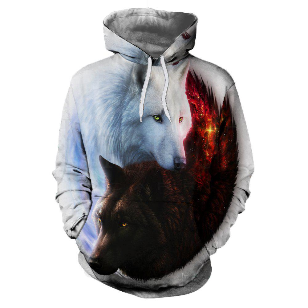 Sale Autumn and Winter 3D Wolf Digital Print Thermal Transfer Men's Hoodie Sweater