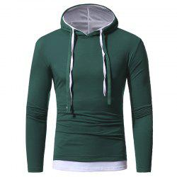 Solid Color Double-layer Cap Men's Casual Slim Long-sleeved T-shirt -