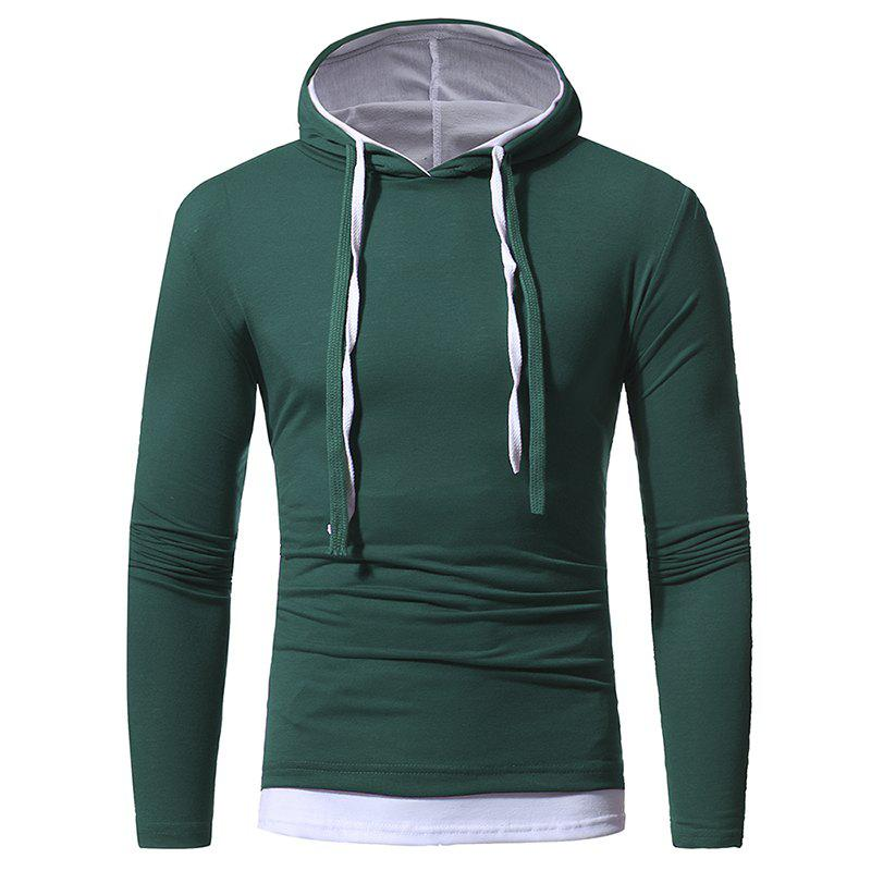 Fashion Solid Color Double-layer Cap Men's Casual Slim Long-sleeved T-shirt