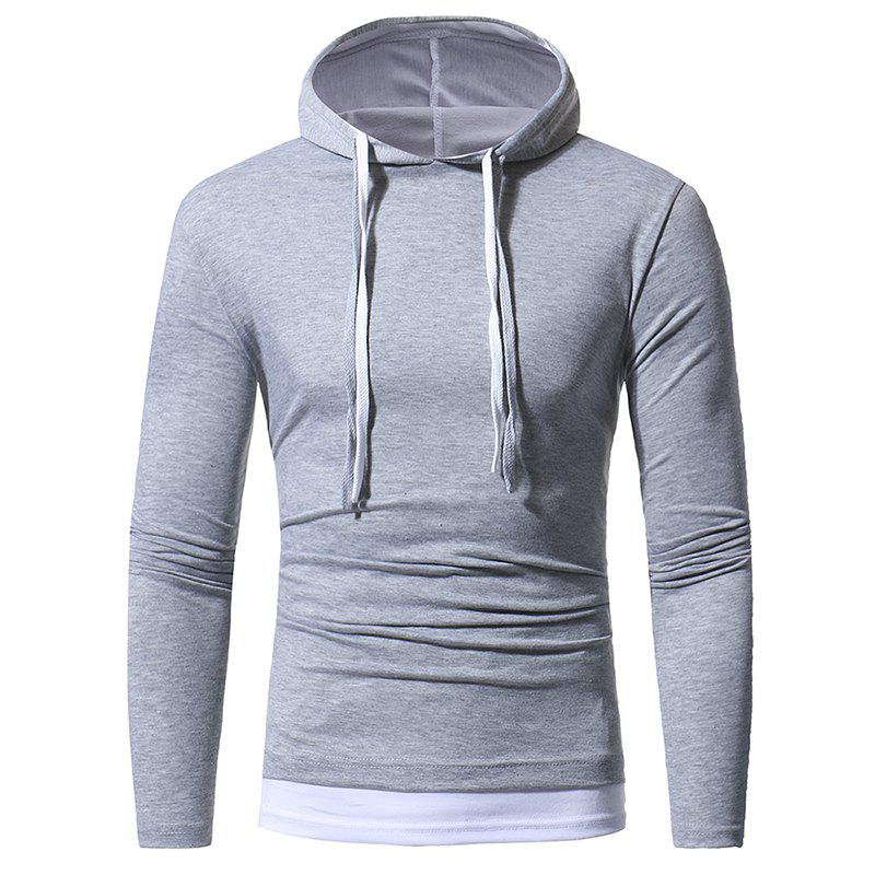 Chic Solid Color Double-layer Cap Men's Casual Slim Long-sleeved T-shirt