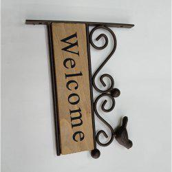 Solid Wood Iron Birds Welcome Door Signs Storefront Wall Decoration -