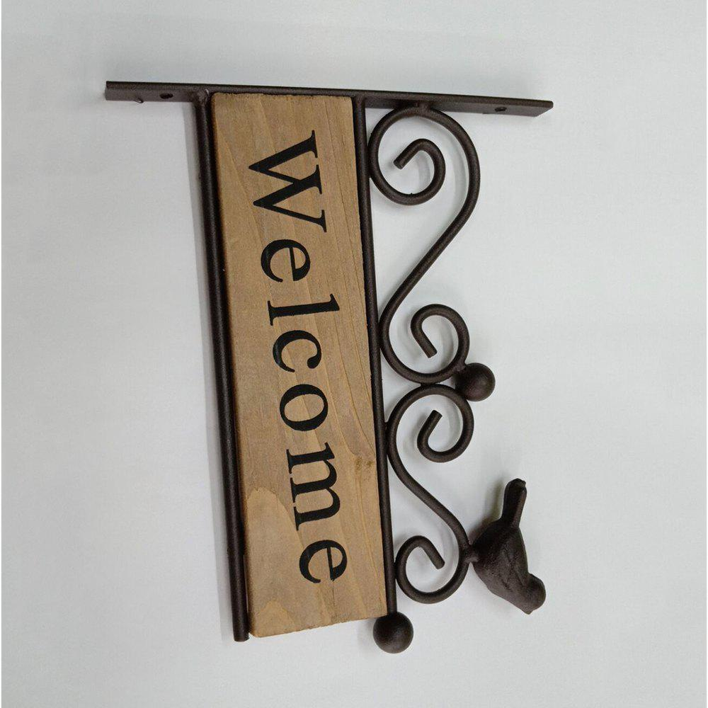 Online Solid Wood Iron Birds Welcome Door Signs Storefront Wall Decoration