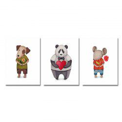 3PCS Cute Cartoon Bear Puppy Print Art -