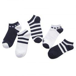 Black and White Cotton Boat Socks 5 Pair -