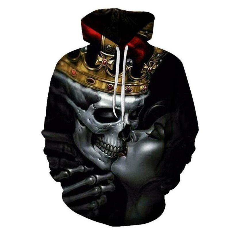 Latest Men's Skull Crown 3D Print Hoodie